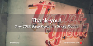 Milestone - 2000 page views in a single month - march 2017